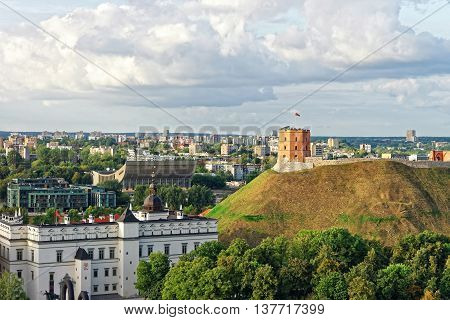Gediminas Tower And The Lower Castle In Vilnius In Lithuania