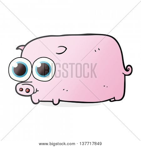 freehand drawn cartoon piglet with big pretty eyes