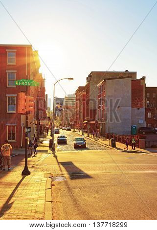 Sunset In Front Street In Philadelphia