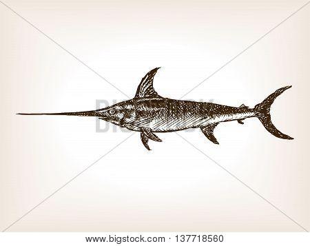 Swordfish sketch style vector illustration. Old engraving imitation.