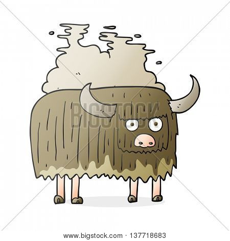 freehand drawn cartoon smelly cow