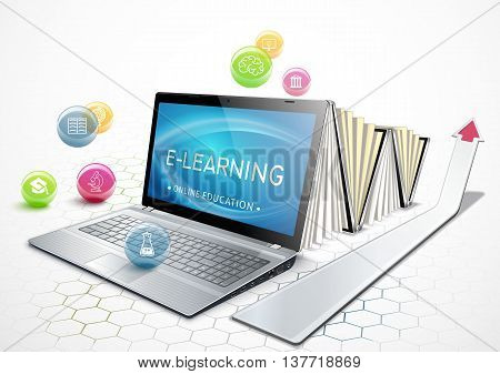 The concept of e-learning. Education online. Laptop as an ebook. Getting an education. Vector illustration.