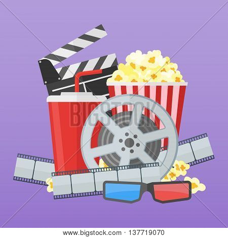 Cinema poster design template. Movie film reel and strip, popcorn, clapper board, soda takeaway, 3d glasses on purple background. Flat style vector illustration.