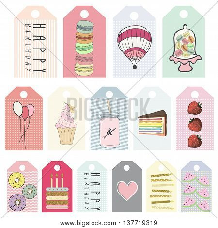 Happy Birthday Printable Cards, Tags and Planner Stickers. Vector. Sweets , cake, macaroon , candles , donuts , balloons , heart, mason jar
