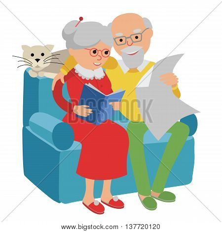Social concept senior people couple sitting on the sofa and rest