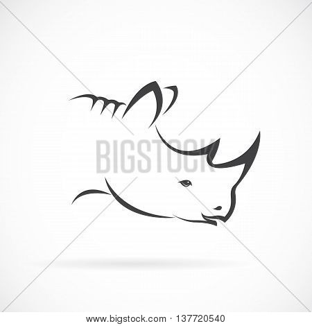 Vector image of rhino head on white background. Vector rhino for your design.