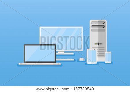 Electronic devices horizontal banners. Computer, tablet pc, laptop, smart phone. Flat style vector illustration.