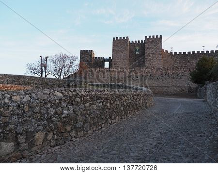 Historic road towards castle in the old town of Trujillo, Spain