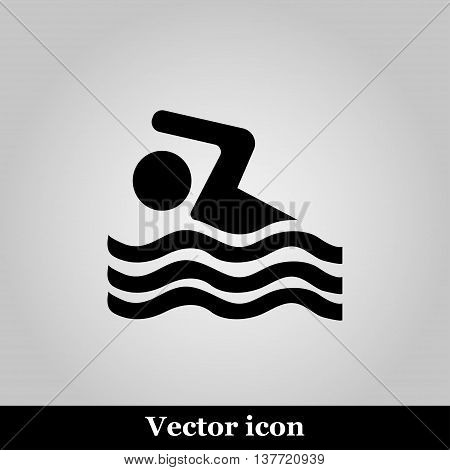 Swimming icon sign on grey background, vector illustration