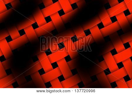 Illustration of red and black weaved pattern