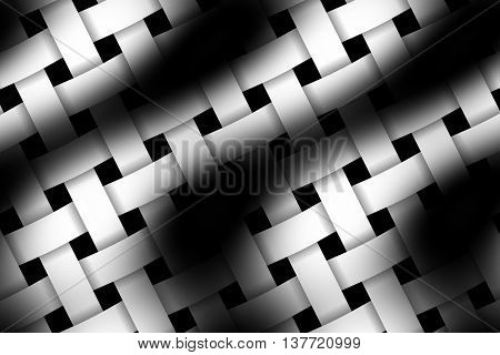 Illustration of black and white weaved pattern