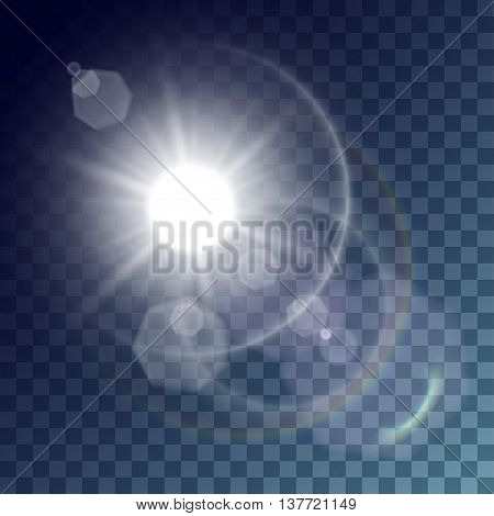 Vector white sun with light effects. Rays hotspots rainbow and white halo and flares on transparent like background. Release clipping mask for work.