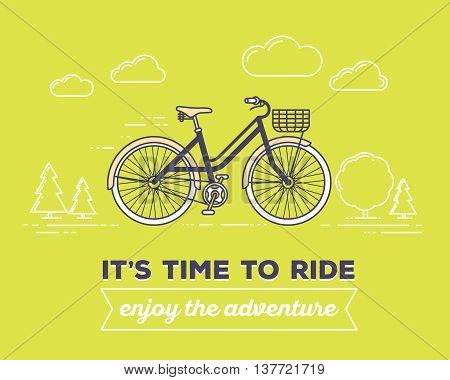 Vector illustration of retro pastel color bicycle with basket and text it's time to ride enjoy the adventure on green outdoor background. Bike adventure concept. Thin line art flat design of vintage bicycle riding on the bicycle and cycling theme