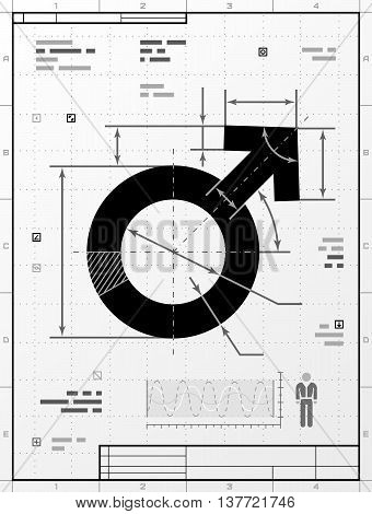 Male symbol as technical drawing. Stylized drafting of man sign with title block. Vector illustration about man biology and health, male psychology (father, son), sex differences, gender role, etc