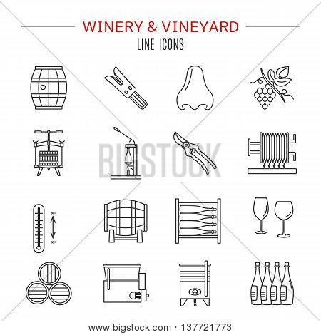 Set of winemaking and wine tasting icons in modern thin line style isolated on white background. High quality outline symbol collection. Simple mono linear pictogram pack. Stroke vector logo concept.