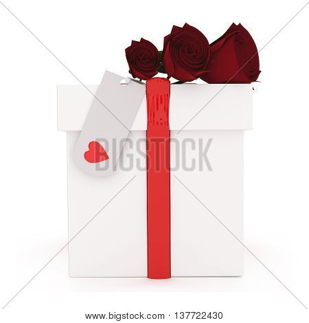 3D Roses On Top Of Wrapped Gift Concept