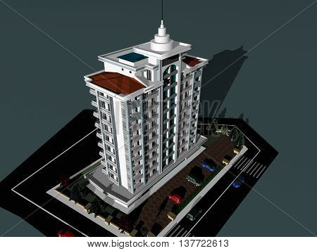 luxury modern buildings. 3d drawing.gray background luxury residence project