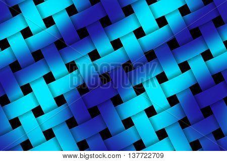 Illustration of dark blue and light blue weaved pattern
