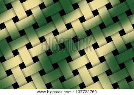 Illustration of dark green and vanilla weaved pattern