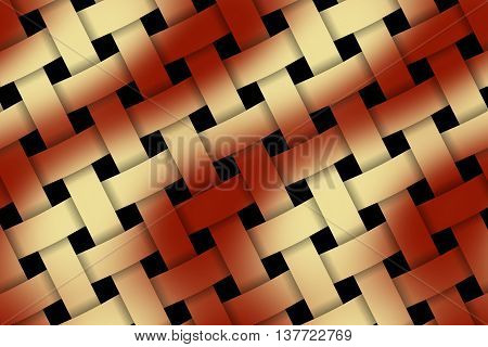 Illustration of red and vanilla weaved pattern