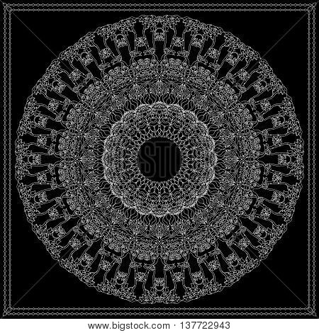 Black and white bandana square pattern design for print on fabric. Kerchief or neck scarf style. Mandala vector illustration with contoured branches, flowers, leaves and floral ethnic abstract decorative elements.