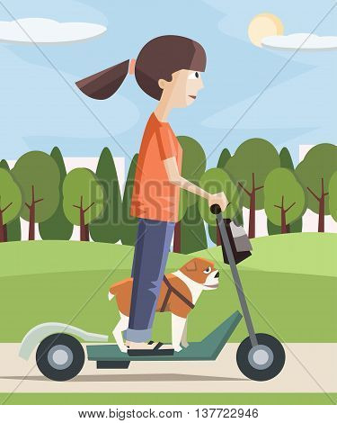 girl with dog on electric scooter at the city - colorful cartoon vector illustration
