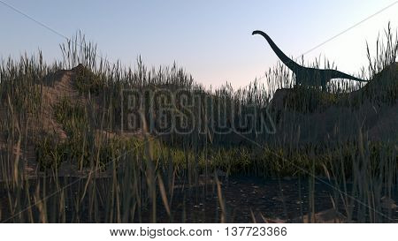 3d illustration of the mamenchisaurus standing on hill