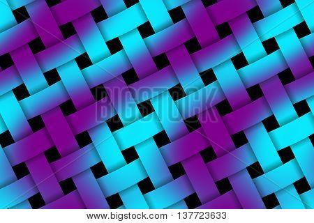 Illustration of purple and cyan weaved pattern