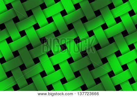 Illustration of dark green and light green weaved pattern