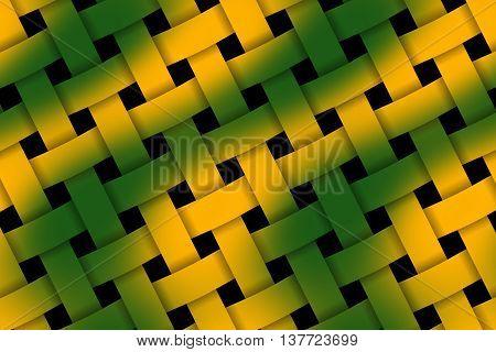 Illustration of dark green and orange weaved pattern