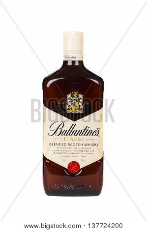 READING MOLDOVA APRIL 7 2016. Ballantines whisky isolated on white background. Ballantines is blended scotch whisky produced produced by Pernod Ricard in Dumbarton Scotland.