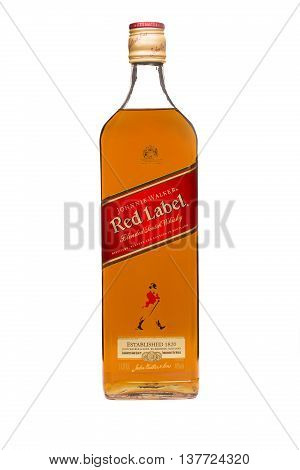 READING MOLDOVA APRIL 7 2016. Johnnie Walker Red Label blended whisky isolated on white background. Johnnie Walker was established in 1820 in Kilmarnock Scotland.