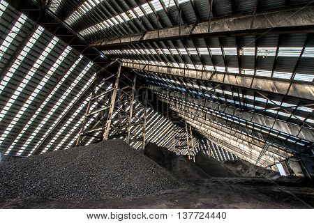 Big coal storage at a factory in Russia