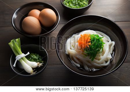 Udon Noodles in a soup base with scallions known as Kake udon or Su udon in Japanese cuisine
