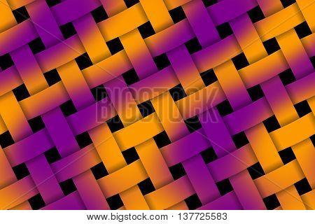 Illustration of purple and orange weaved pattern