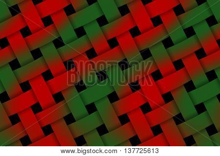 Illustration of red and dark green weaved pattern