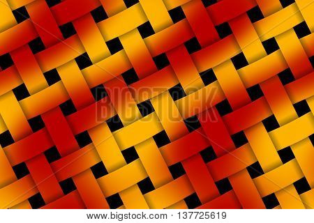 Illustration of red and orange weaved pattern