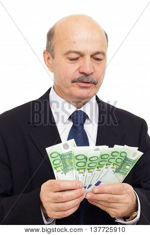 Elderly Man Counts Money