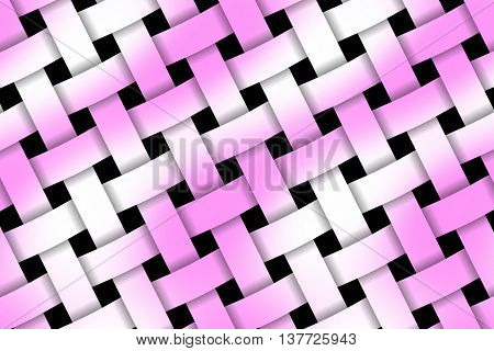 Illustration of pink and white weaved pattern