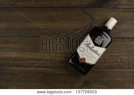 READING MOLDOVA - APRIL 8 2016: Ballantine's is the world's second highest selling scotch whisky produced by Pernod Ricard in Dumbarton Scotland.editorial