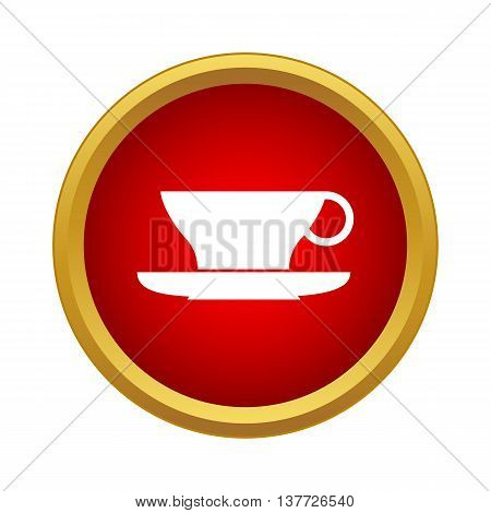 Cup and saucer icon in simple style on a white background