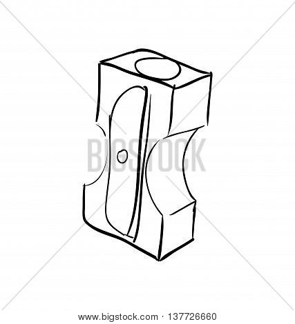 Instrument, creative and school supply concept represented by pencil sharpener icon. Isolated and sketch illustration.
