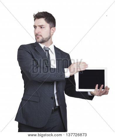 Businessman Showing Tablet