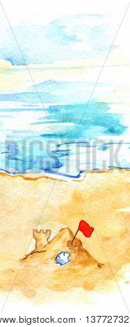 Watercolor summer travel beach sea shore sand castle