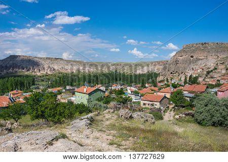 Panorama of Yaprakhisar village in Cappadocia Central AnatoliaTurkey