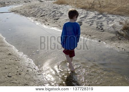 Boy in blue shirt wading in a tidal pool