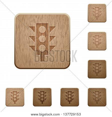 Set of carved wooden Traffic light buttons in 8 variations.