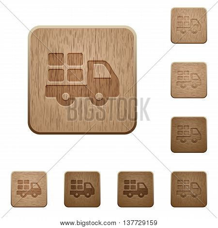 Set of carved wooden Transport buttons in 8 variations.