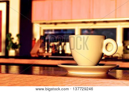 Morning coffee in a sunny, warm kitchen