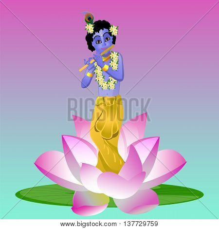 Krishna and the Lotus. Krishna plays the flute vector illustration, banner, card, meditation